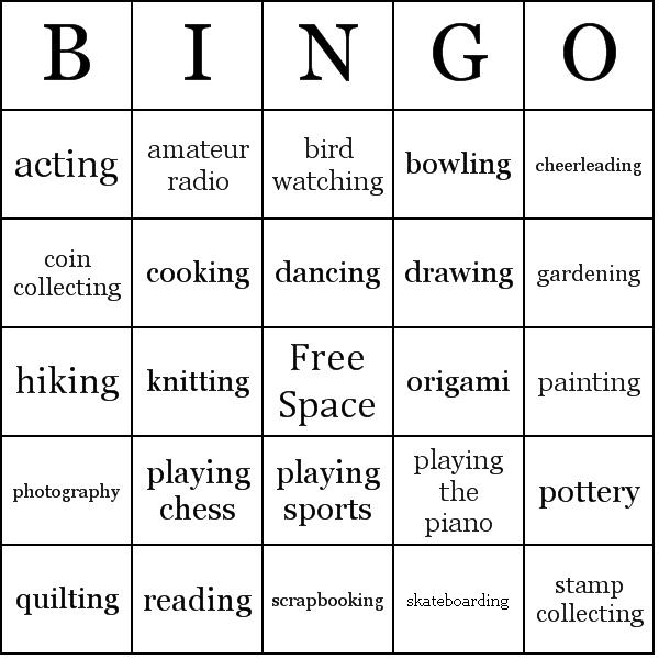 Hobbies Bingo Cards