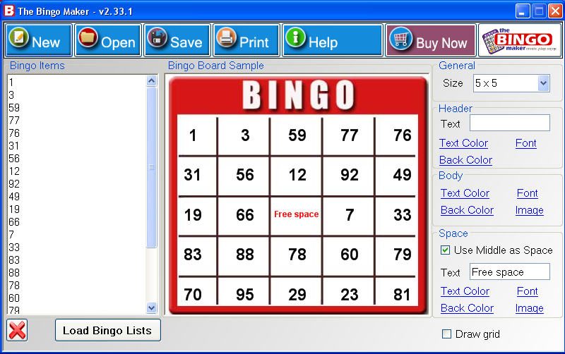 Click to view The Bingo Maker 6.0 screenshot